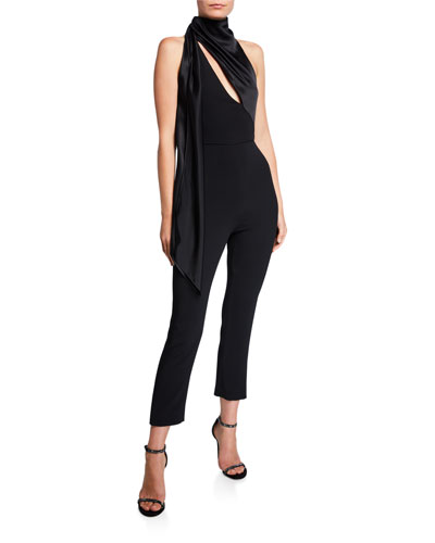 Stretch Cady Halter Neck Jumpsuit