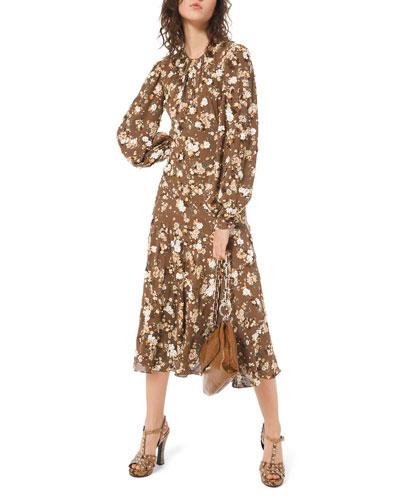 Floral-Embroidered Blouson Sleeve Midi Dress