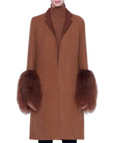 Cashmere Coat with Shearling Cuffs