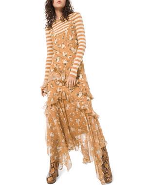Michael Kors Collection Asymmetric Ruffled Slip Dress
