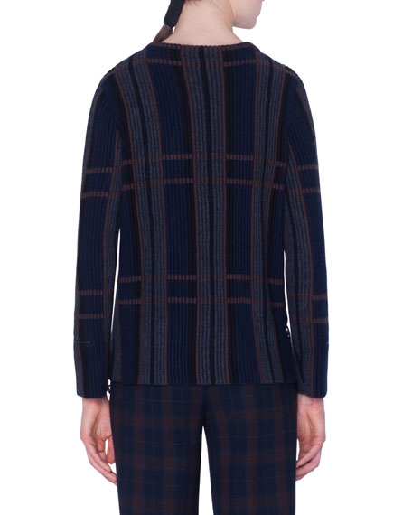 Akris Cashmere-Silk Plaid Ribbed Knit Sweater