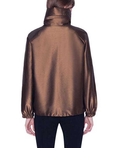 Akris Short Water-Repellent Metallic Parka Coat