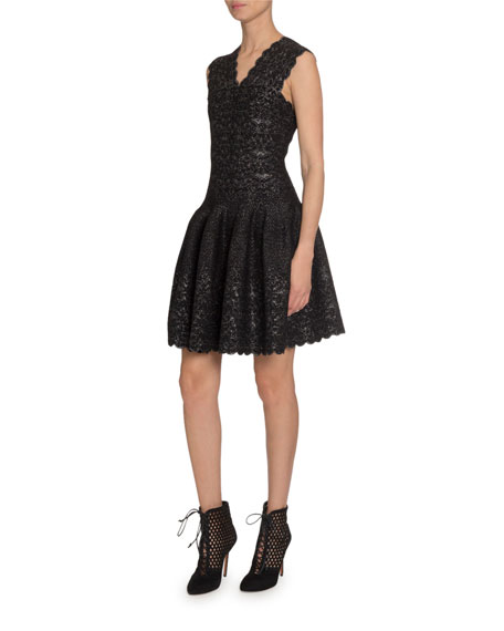 ALAIA Metallic Lace V-Neck Dress