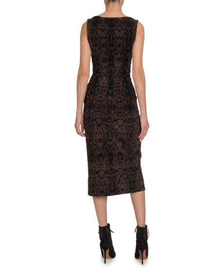 ALAIA Animal-Print Sleeveless Velvet Midi Dress