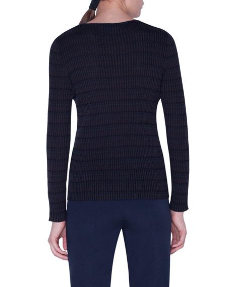 Akris Plaid Ribbed-Silk Sweater