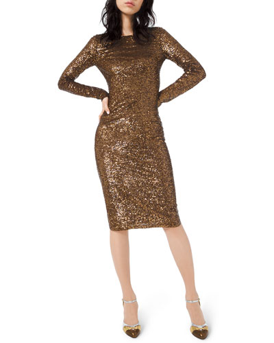 Sequined Long-Sleeve Bodycon Dress