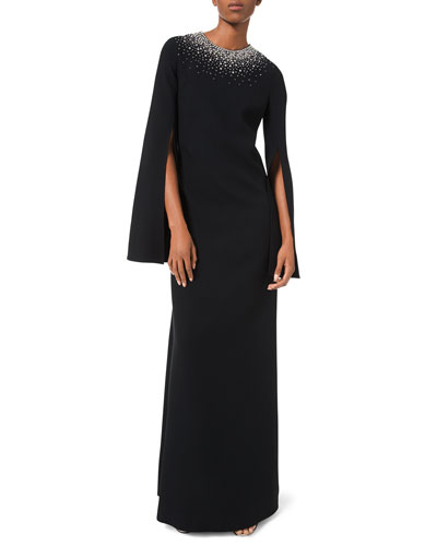 Embroidered-Neck Tunic Crepe Gown