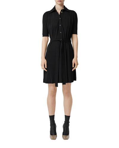 1/2-Sleeve Jersey Shirtdress