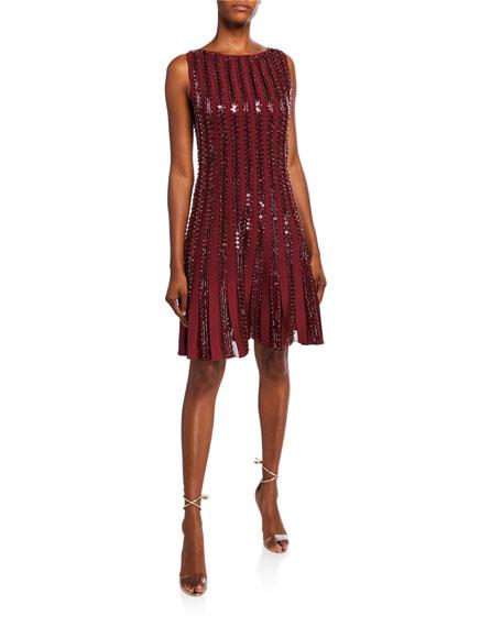 Zac Posen Sequin-Striped Sleeveless Cocktail Dress