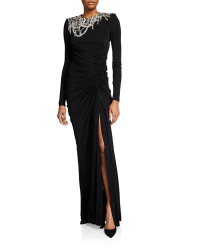 Chandelier Embellished Column Gown