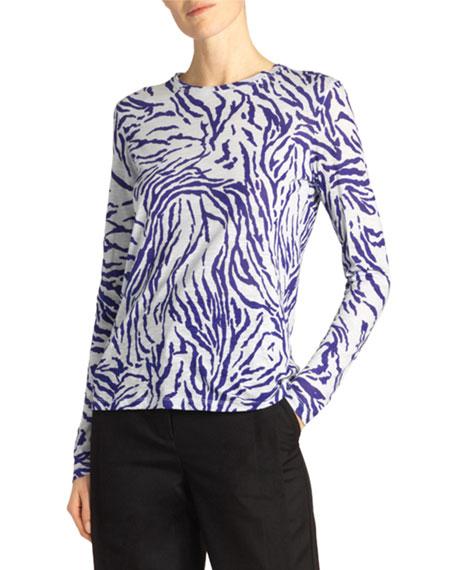 Proenza Schouler Long-Sleeve Zebra-Striped Crewneck Top