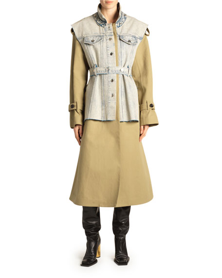 Proenza Schouler Denim Vested Trench Coat