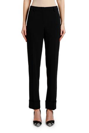 Giorgio Armani Lightweight Slim-Leg Wool Cuffed Pants