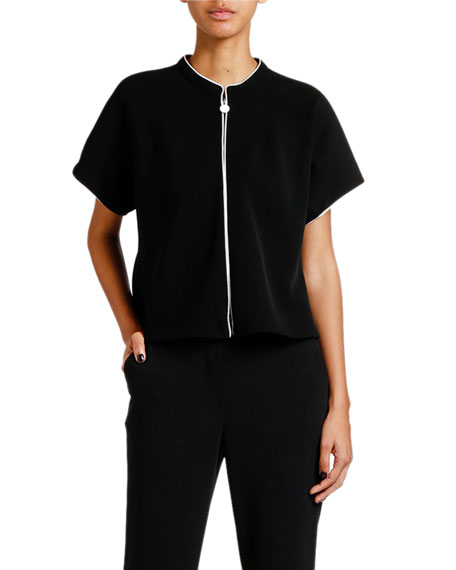 Giorgio Armani Double Crepe Zip-Front Jacket