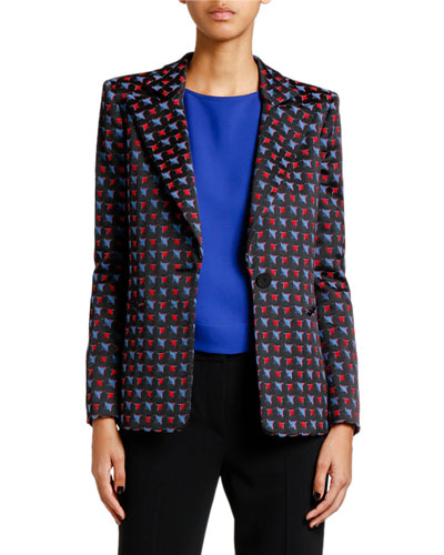 Geometric Jacquard Button-Front Jacket