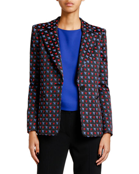 Giorgio Armani Geometric Jacquard Button-Front Jacket