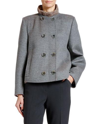 Double-Face Wool-Blend Short Coat