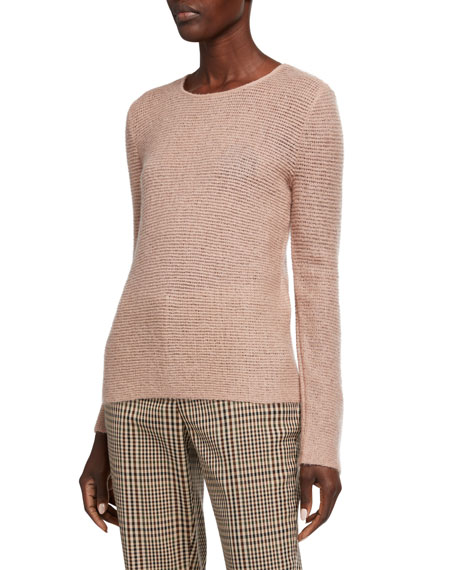 Giorgio Armani Mohair-Wool Sheer-Stitched Tunic Sweater, Rose