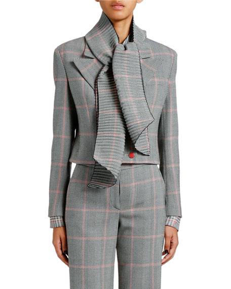 Giorgio Armani Chevron Cropped Jacket with Plisse Scarf