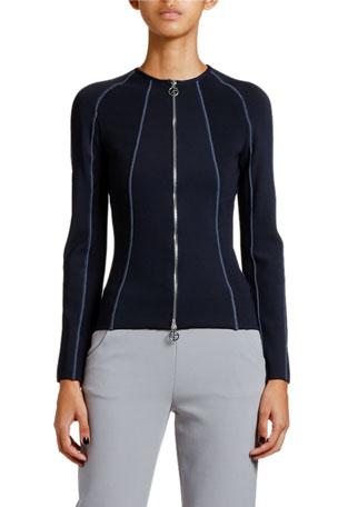 Giorgio Armani Ottoman Ribbed Zip-Front Jacket