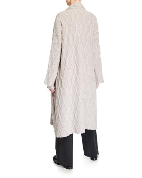 Eskandar Cashmere Lattice-Knit Shawl-Collar Cardigan Coat