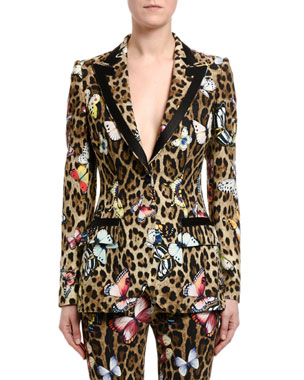 d074e00e Dolce & Gabbana Leopard & Butterfly-Print Cady Jacket