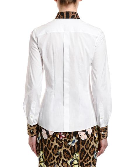 Dolce & Gabbana Leopard-Print Trim Butterfly Patch Shirt