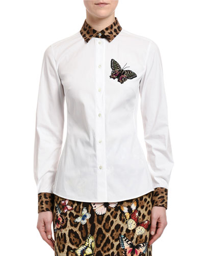 Leopard-Print Trim Butterfly Patch Shirt
