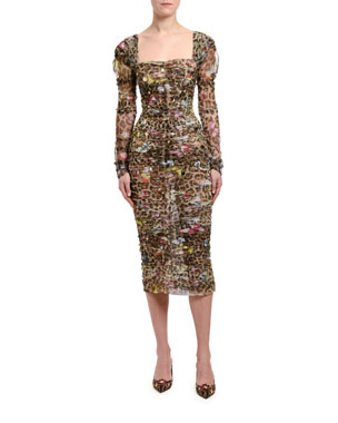 c36df1bc1158 Dolce   Gabbana Leopard   Butterfly-Print Ruched Bodycon Dress