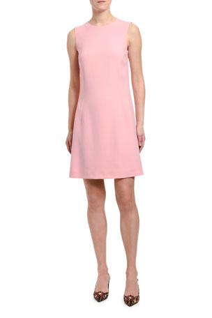 Dolce & Gabbana Sleeveless Jeweled Button-Back Cady Dress