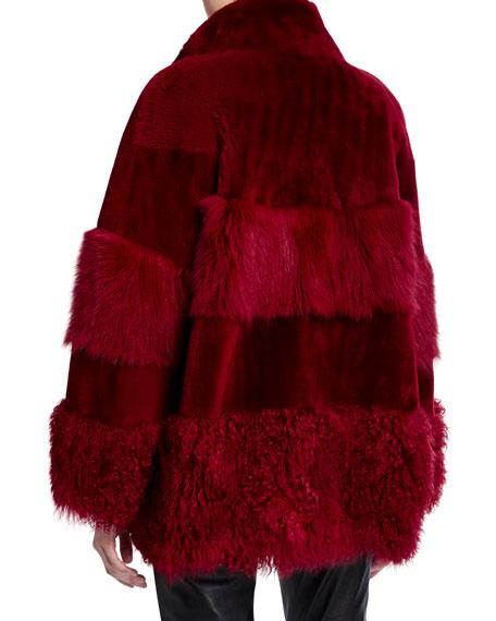 Nour Hammour Patchwork Textured Shearling Fur Coat