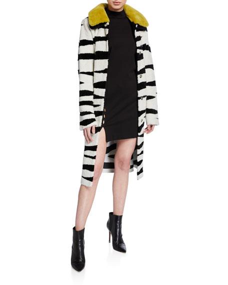 Nour Hammour Savannah Zebra Shearling Coat