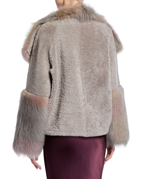 Image 2 of 2: Woodstock Tie-Dye Shearling Fur Coat
