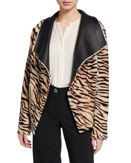 Nour Hammour Safari Tiger-Striped Reversible Leather Cardigan