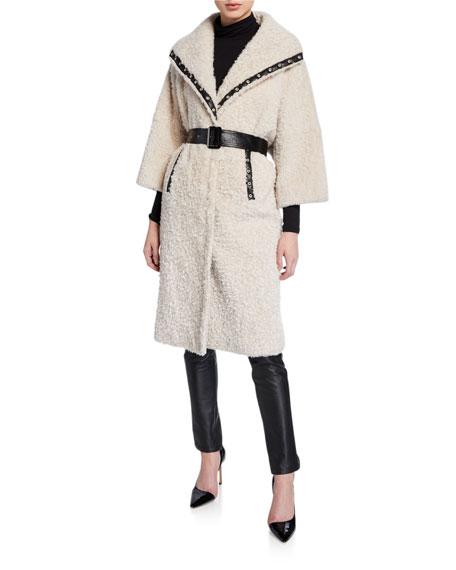 Nour Hammour Suzie Leather-Trim Shearling Coat
