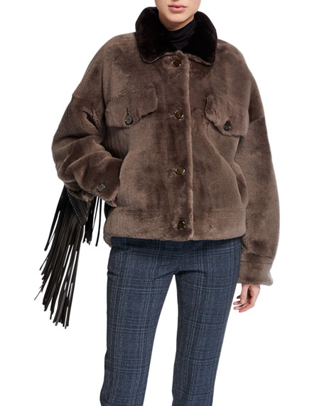 Image 2 of 5: Wild Child Shearling Bomber Jacket with Removable Fringe