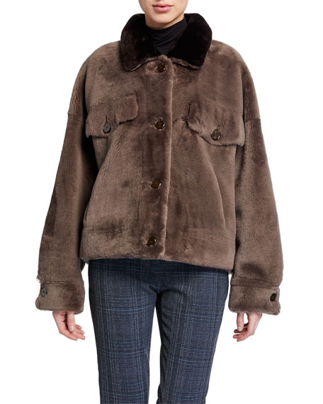Image 3 of 5: Wild Child Shearling Bomber Jacket with Removable Fringe