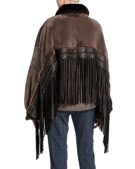 Nour Hammour Wild Child Shearling Bomber Jacket with Removable Fringe