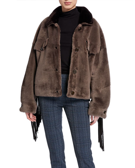 Image 1 of 5: Wild Child Shearling Bomber Jacket with Removable Fringe
