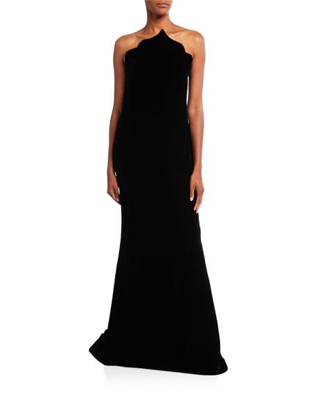 Oscar de la Renta Velvet Pointed Bodice Gown