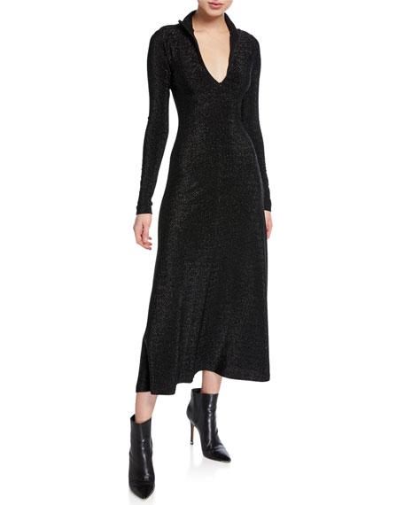 Rosetta Getty Metallic Zip-Up Turtleneck Long-Sleeve Dress