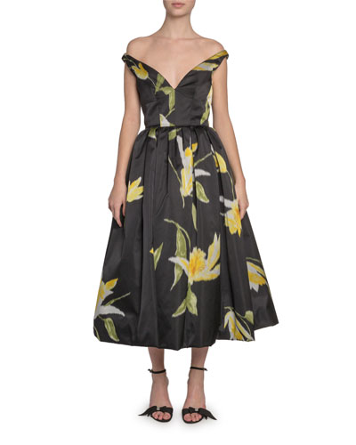 Off-the-Shoulder Lily-Print Taffeta Dress