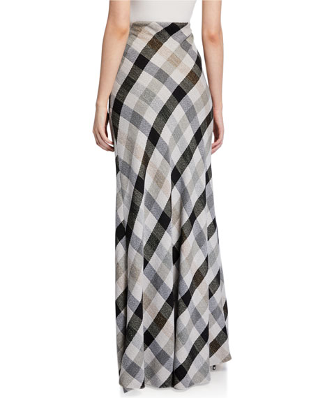 Rosetta Getty Long Plaid Bias Maxi Skirt