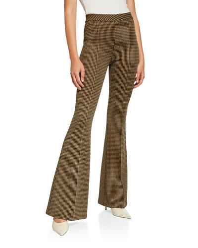 Houndstooth Pintucked Flare-Leg Pants