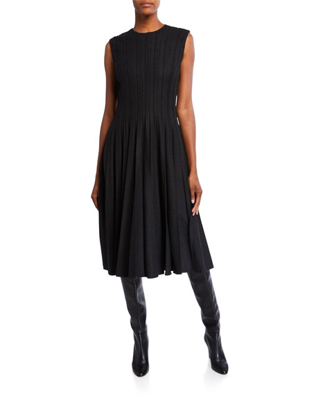 Oscar De La Renta Dresses PLEATED WOOL-CREPE MIDI DRESS