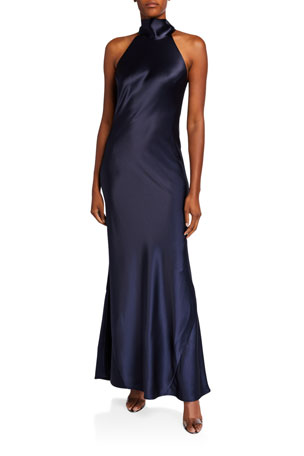 Galvan Sienna Satin Tie-Neck Gown