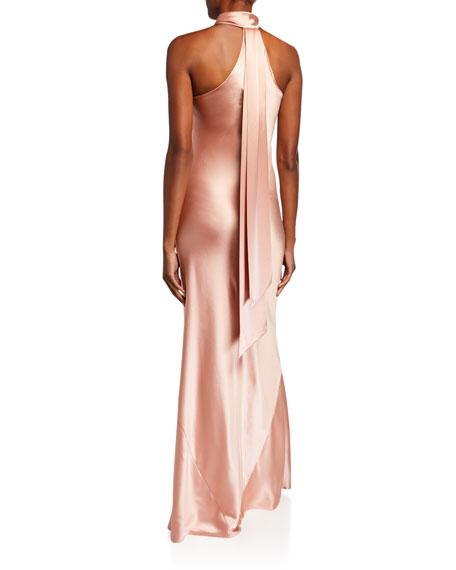 Galvan Pandora Tie-Neck Halter Gown