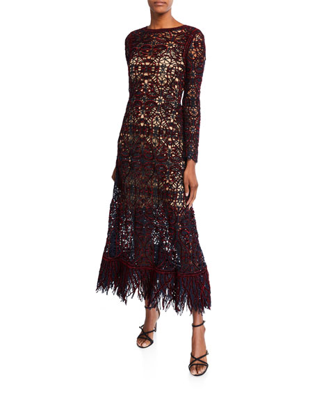 Oscar De La Renta Dresses OPEN-LACE LONG-SLEEVE DRESS WITH SLIP