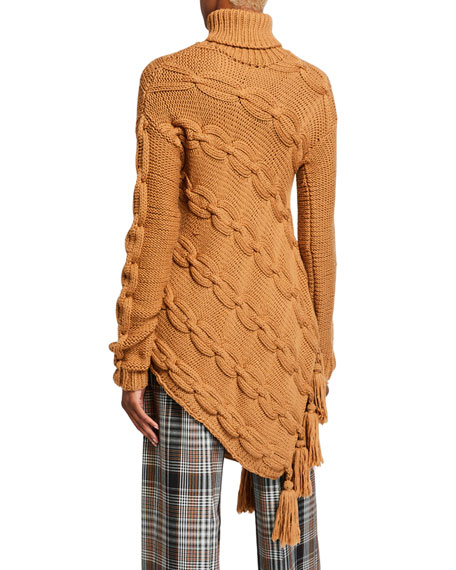 Oscar de la Renta Wool Cable-Knit Turtleneck Asymmetric Sweater