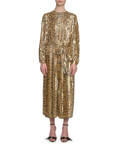 Marc Jacobs (Runway) Animal-Print Lame Midi Dress
